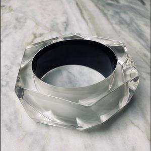 Alexis Bittar Clear Lucite Faceted Bangle Bracelet